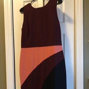 Maroon pink black color block cocktail dress